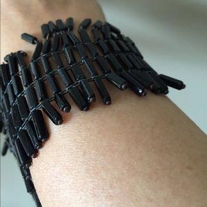Black glass beads vintage bracelet